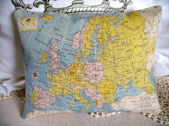 French Chic Vintage Europe Map Canvas Accent Pillow