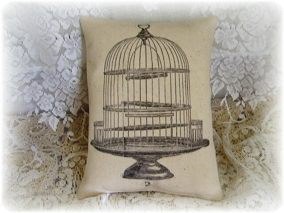 Vintage Chic Old Wire Birdcage Canvas Accent Pillow