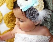 Baby headband, girls headband- Light gray stretchy lace headband with gorgeous fabric rosettes