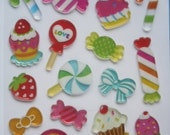 Cute Little Sticker Sheet-Set Cupcake and Candy