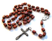 Wood Rosary Bead Necklace - Vintage Jewelry