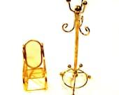 Brass Dollhouse Furniture, Chair / Coat Rack