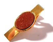 Vintage Tie Clip, Gold Metal Goldstone, Necktie Clasp - VintagePennyLane