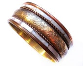 Vintage Brass Floral Mother of Pearl Shell Inlay Bangle Bracelet - Costume Jewelry