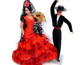 Vintage Souvenir Dolls / Marin Spain Spanish Flamenco Dancer / Matador Dolls