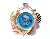Vintage Gold Sagittarius Pendant, Blue Glass