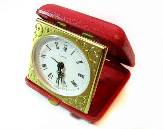 europa 7 jewels folding travel alarm clock germany. Black Bedroom Furniture Sets. Home Design Ideas