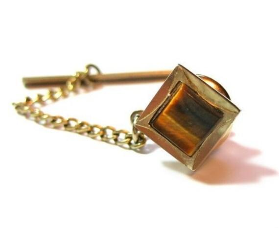 tiger eye tie tack pin vintage jewelry
