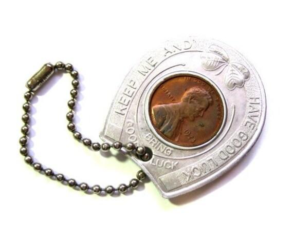 Vintage Good Luck Souvenir Penny Key Fob Chain