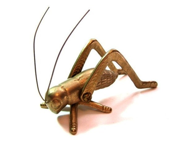 Vintage Solid Brass Grasshopper Insect Figure