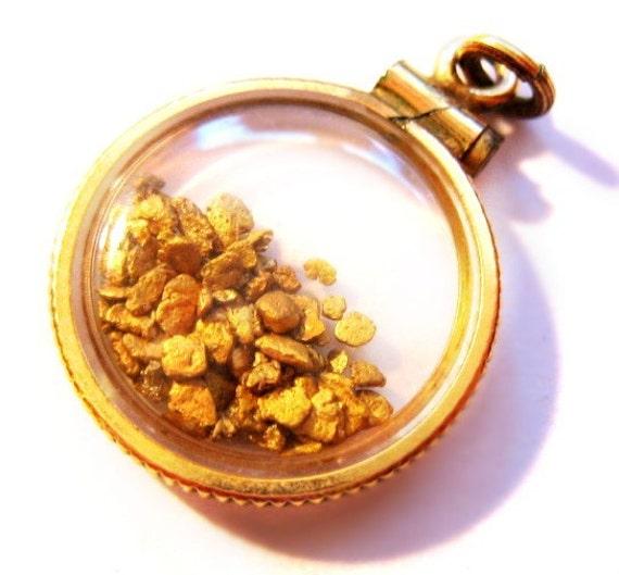 Alaska Gold Nugget / Flake Pendant / Charm - Vintage / Antique Jewelry