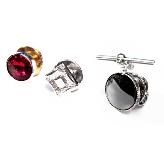 3 Tack / Lapel / Tie Pins - Vintage Jewelry Lot