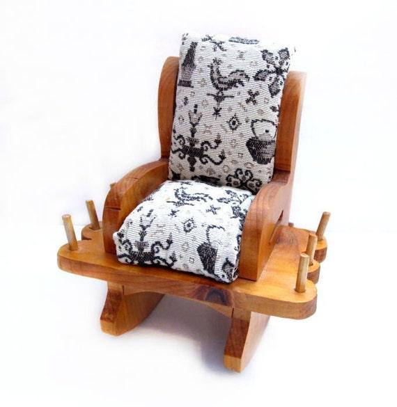 Vintage Handmade Wood Rocking Chair Pin Cushion Thread Spool Holder ...