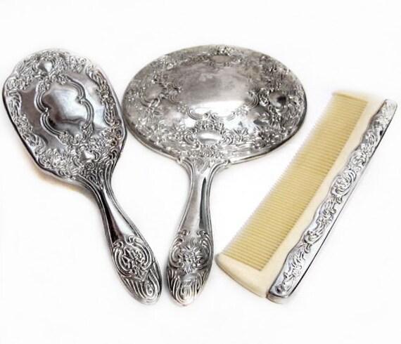 Vintage Silver Vanity Mirror Brush Comb Dresser Set
