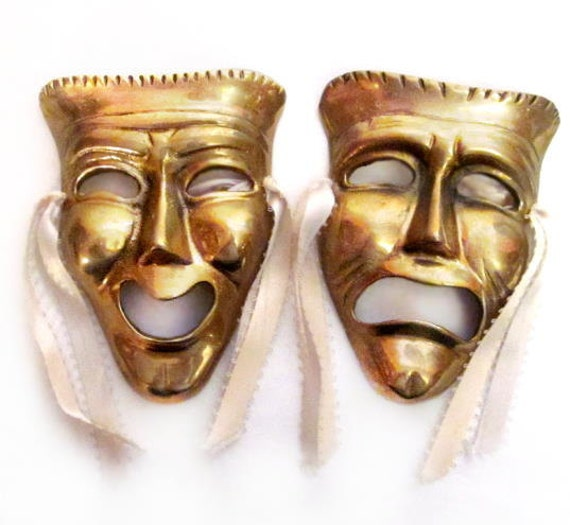 Vintage Comedy Tragedy Masks Brass Metal Comedy Tragedy Mask