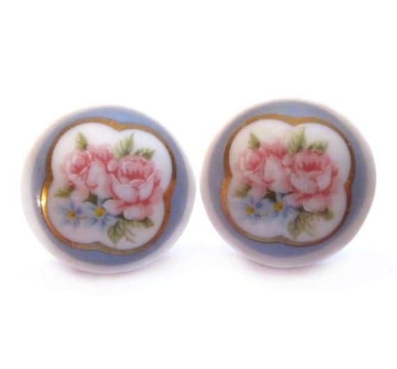 Vintage Porcelain Pierced Earrings, Flower Cameo