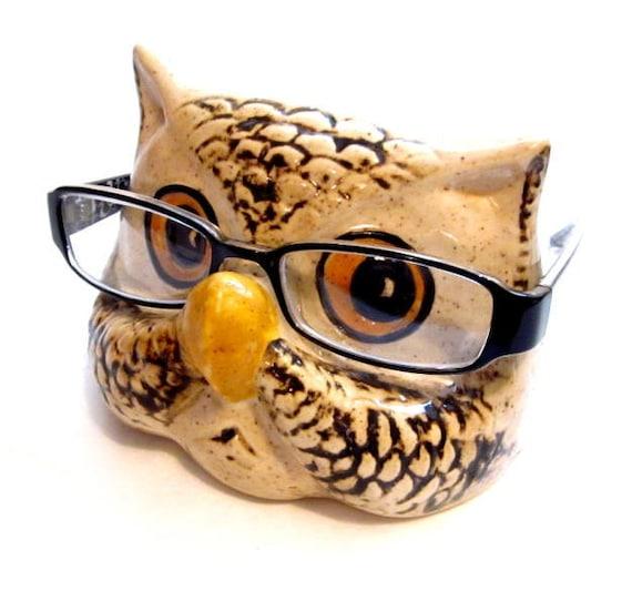 Vintage Eyeglasses Holder Ceramic Owl Eye Glasses Holder