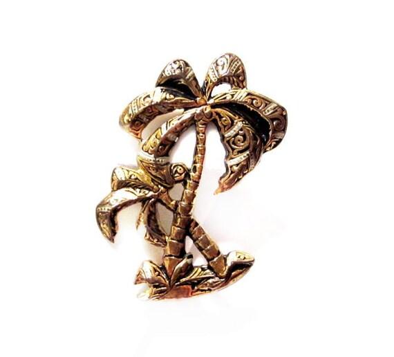 Vintage Damascene Brooch, Palm Tree Costume Jewelry Pin