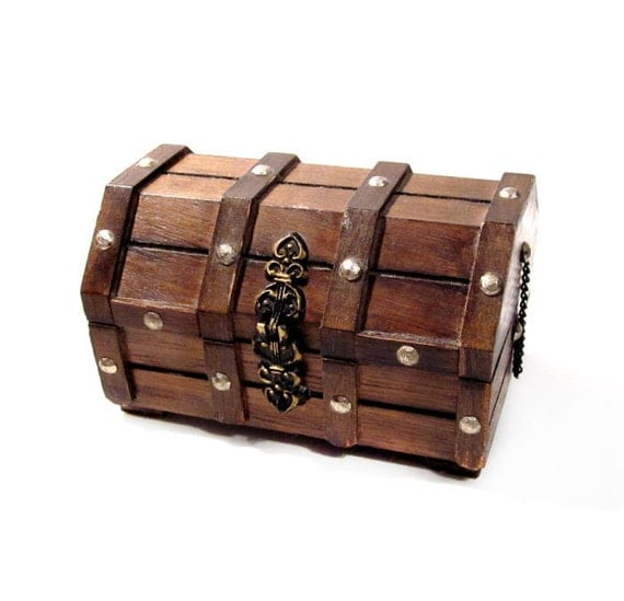 Vintage Jewelry Box / Pirate's Wood Chest Trinket / Treasure Box