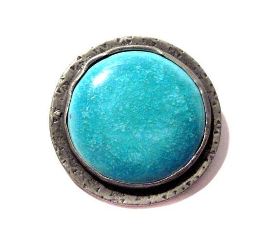 Antique Enamel Brooch, Handmade Victorian Silver, Blue Enamel Pin