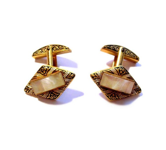 Vintage Damascene Cufflinks, Gold Moonglow Lucite Cuff Links