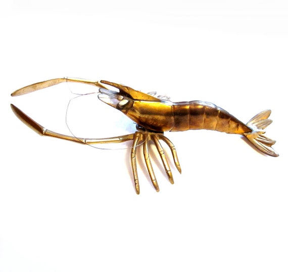 Vintage Brass Shrimp Prawn Crawfish Crayfish Figurine