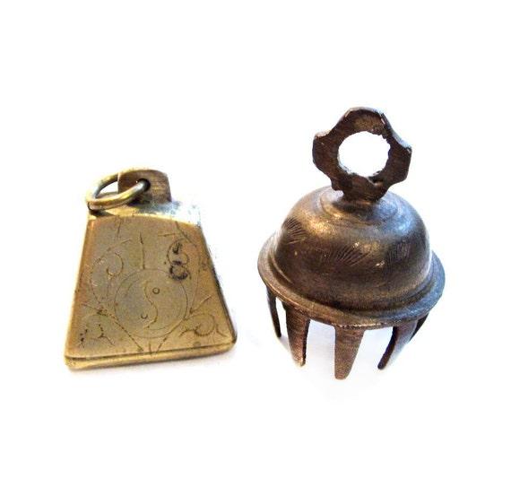 Vintage Brass Bells, 2 Metal Miniature Mini Bell Figurines