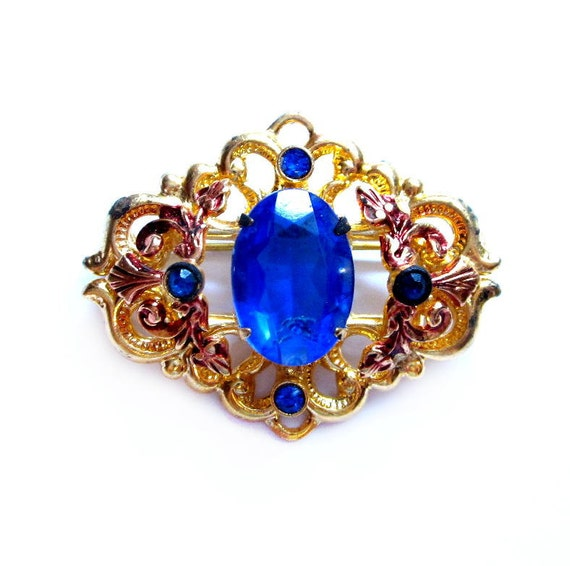 Vintage Rhinestone Brooch, Blue Glass Pin, Costume Jewelry