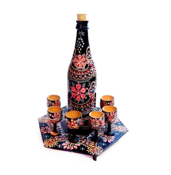 Vintage Tole Painted Set, Ukrainian Wood Tray, Bottle, Shot Glasses / Cups