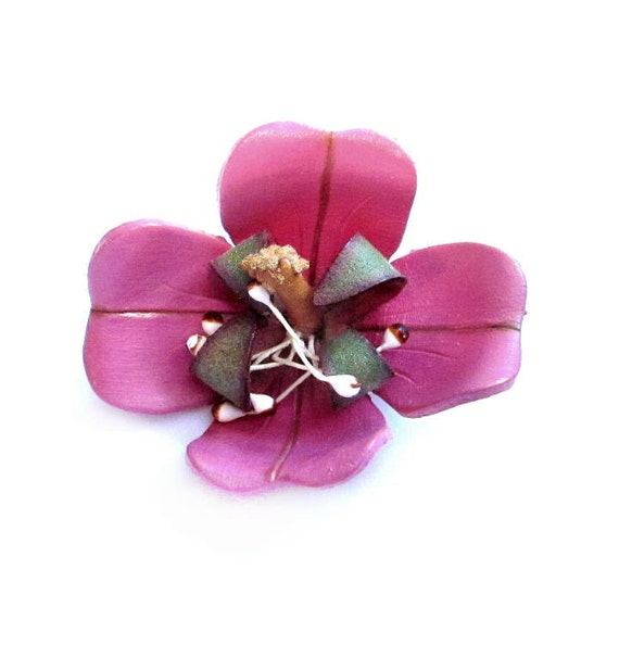 Tooled Leather Brooch, Pink Flower Pin