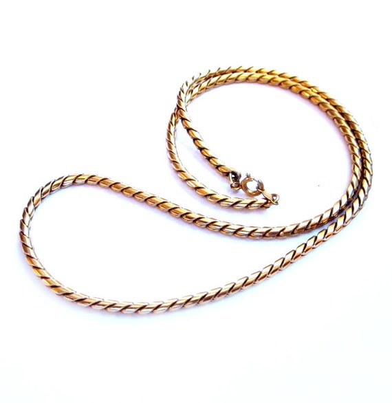 Vintage Gold Necklace, 12K Gold Filled Rope Chain, Costume Jewelry