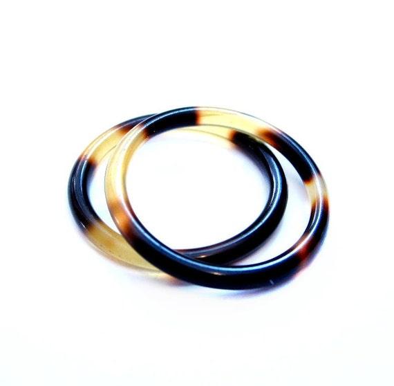 2 Vintage Rings, Tortoiseshell Lucite Plastic, Costume Jewelry