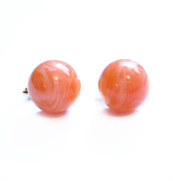 Mod Button Earrings, Peach / Pink Swirl Lucite