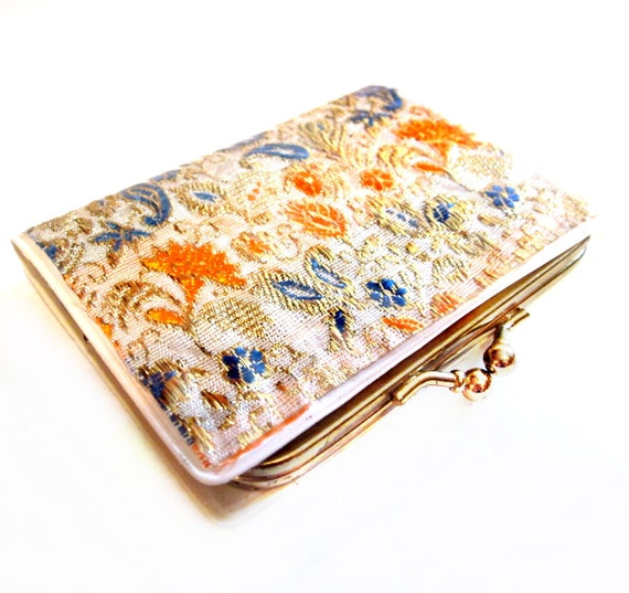 Vintage Coin Purse, Gold Thread Floral, Retro Change Purse Clutch