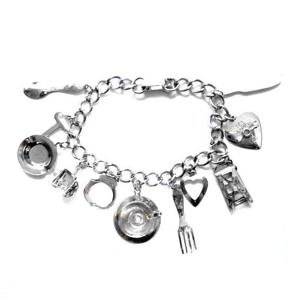 Retro 1960s Silver Charm Bracelet