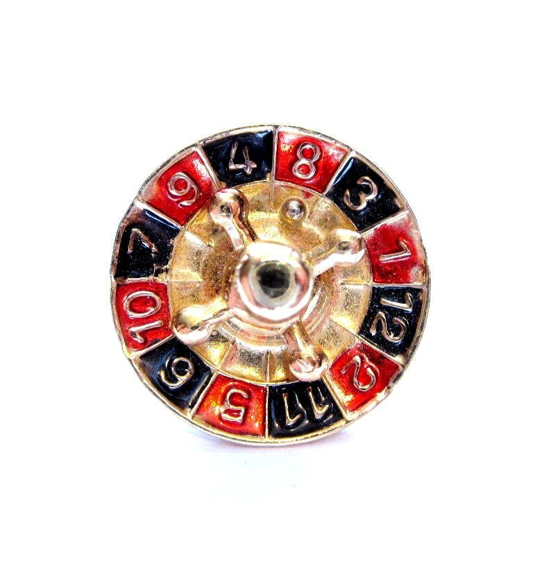 vintage tie pin enamel roulette wheel necktie by vintagepennylane. Black Bedroom Furniture Sets. Home Design Ideas