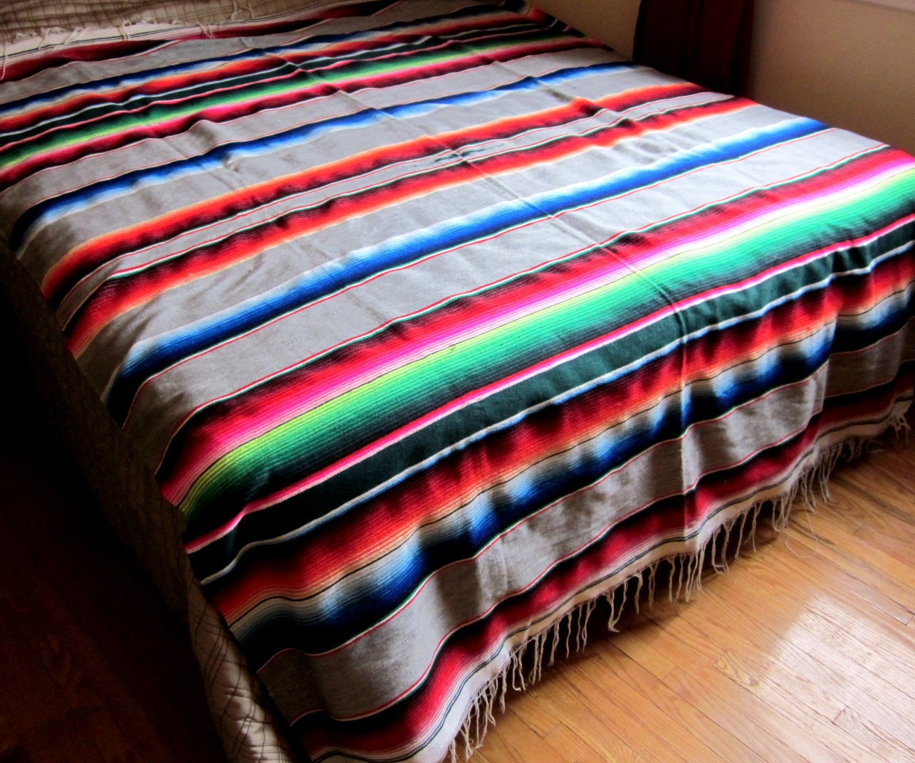 Vintage Wool Blanket Mexican Sarape Saltillo By