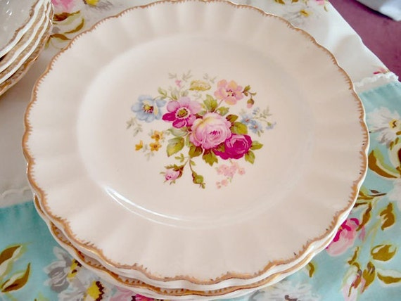 Sebring June Rose Berry Bowls and Dessert Plates Vintage