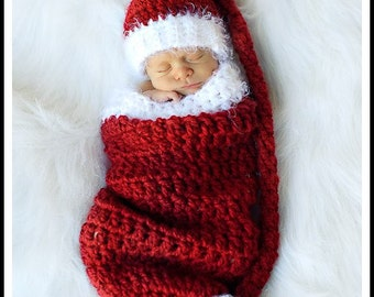 Crochet Christmas Elf Stocking Baby Hat And Cocoon Set