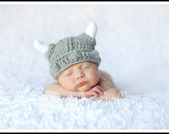 Custom Crochet Viking Baby Hat