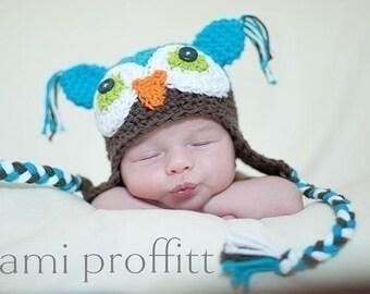 Custom Crochet Owl Baby Earflap Beanie Hat