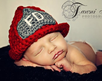 Custom Crochet Firefighters Helmet Baby Hat