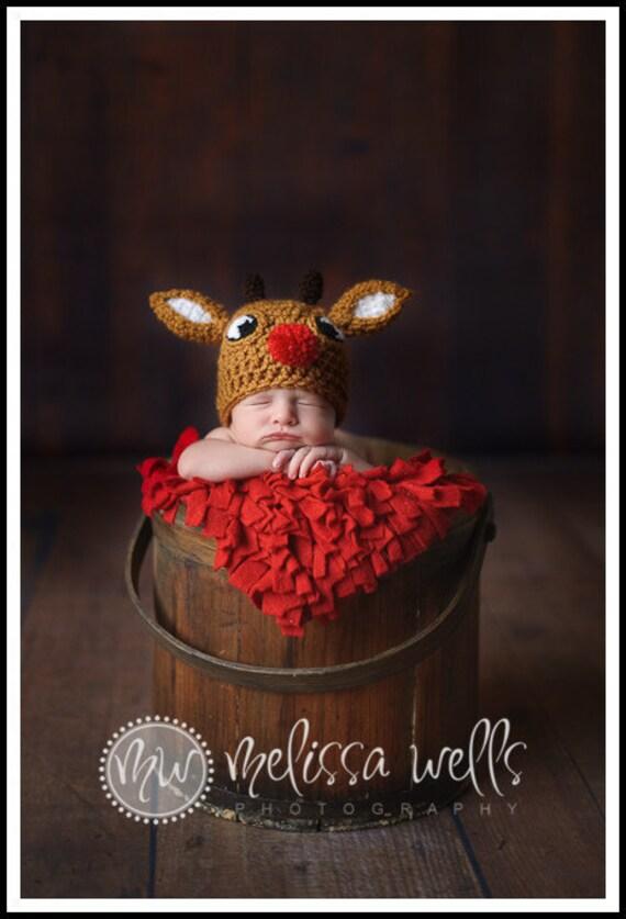 Custom Crochet Baby Reindeer Hat