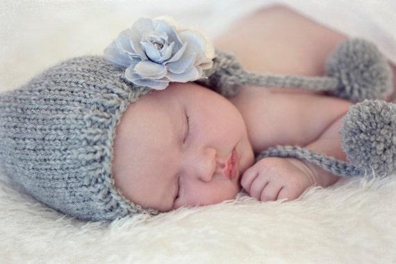 Custom Knit Bonnet Pom Pom Baby Hat