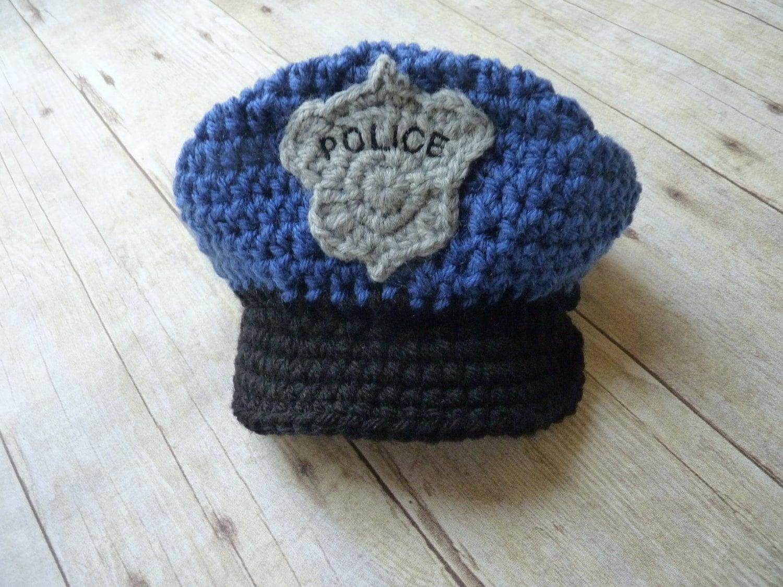 Custom Crochet Police Baby Hat