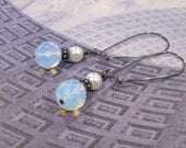 Faceted Round Opalite Pearl and Gunmetal Earrings