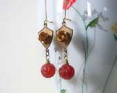 Vintage Raw Brass Rose and Red Agate Bead Earrings