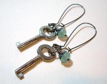 Silver Key Amazonite Gunmetal Earrings