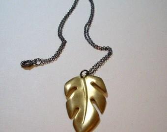 Vintage Brass Leaf Necklace