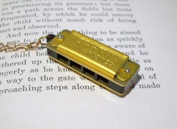 Mini Gold Toned Harmonica Necklace